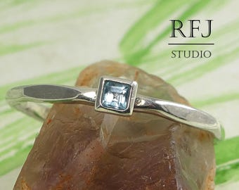 Square Natural Swiss Blue Topaz Faceted December Silver Ring, Princess Cut 2x2 mm Swiss Topaz Tiny Engagement Stacking Square Setting Ring