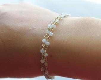 Double delicate gemstone bracelet
