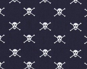 Skull Fabric, Pirate Fabric: Jolly Rogers Skull and Bones Navy by Dear Stella  100% cotton Fabric by the YARD  (M138)
