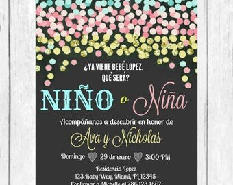 Blue Pink Gold Confetti Gender Reveal Spanish Invitation, Confetti  Invitation, Baby Invite, Gold