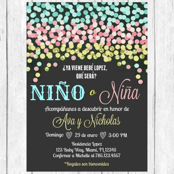 Blue Pink Gold Confetti Gender Reveal Spanish Invitation – Spanish Party Invitations