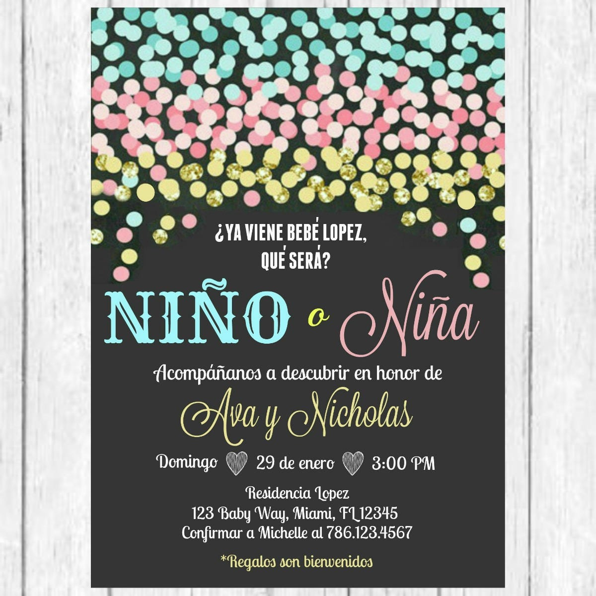 Blue Pink Gold Confetti Gender Reveal Spanish Invitation