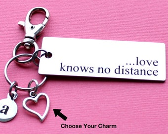Personalized Love Key Chain Love Knows No Distance Stainless Steel Customized with Your Charm & Initial - K65