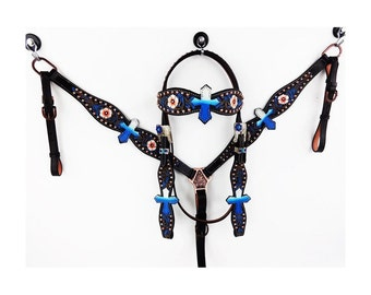 Hand Painted Leather Floral Tooled Blue Cross western Barrel Trail horse Bridle Headstall breast collar