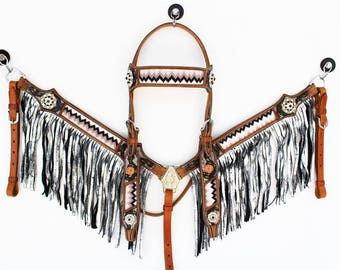 Hand Beaded Metallic silver Fringe Leather Headstall Western Horse Bridle Breast Collar Plate Bling Show Tack Set