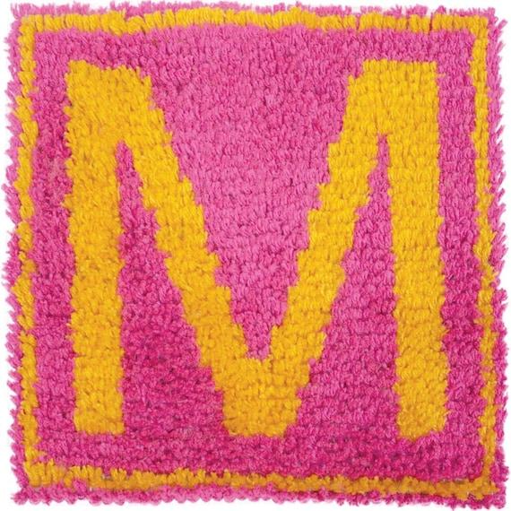 Monogram DIY Latch Hook Kit 12 X 12 Pink/Girls