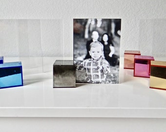 Acrylic/Lucite Block Design Modern Frame-Marble, Blue, Pink, Mirrored, Chrome, Gold