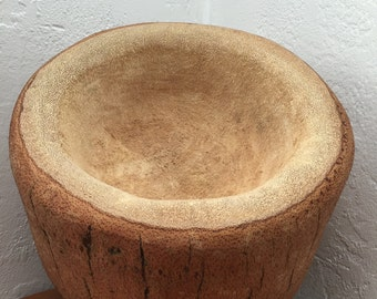 Hand Carved Palm Pot Recycled Planter