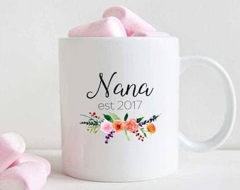 Nana to be mug, Pregnancy Announcement, New Nana gift, Est 2017 (M390)