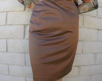 Silky Shiny Bronze Vintage Pencil Skirt