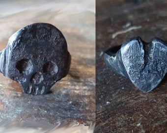Hand forged Swedish Steel Iron Heart or Skull ring