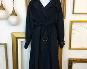 Vintage Christian Dior Long Dark Navy Trench Coat - sz 14 - Free Ship