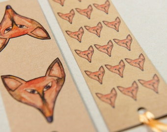 Sly the fox design, double sided card bookmark