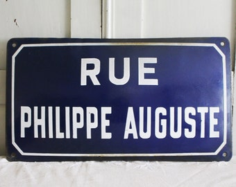 """Vintage French Enamel Road Sign - """"Rue Philippe Auguste"""""""