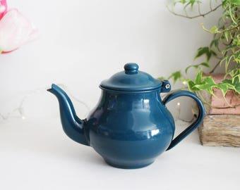 Vintage Small Blue Enamel Teapot