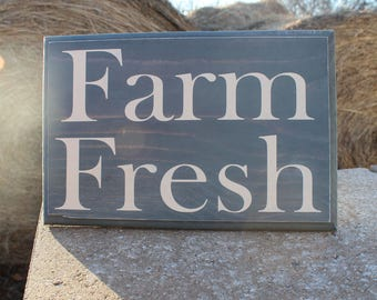 SALE! Farm Fresh Sign, Farmhouse Decor, Rustic Country Decor, Farm Decor, Green and Cream Rustic Farmhouse Decor, Ready to Ship, Handpainted