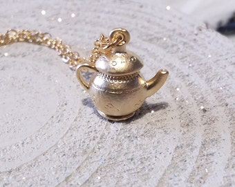 Beautiful gold plated teapot charm necklace, Alice in Wonderland
