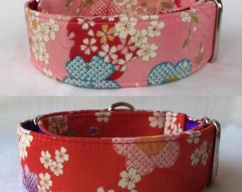 Kimono Flowers Collection Martingale Dog Collar