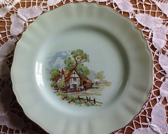 Vintage JG Meakin Glamour Jade pale green fluted plate decorated with a country scene of a cottage and horse drawn wagon