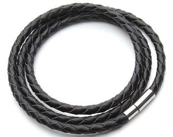 Leather Wrap Bracelet Black