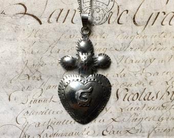 Sterling Silver Sacred Heart with a Cross on a Chain, A remarkable Milagro Heart from Mexico