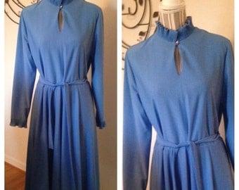 Vintage Robin's Egg Blue Ruffle Dress