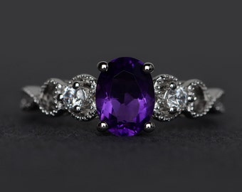 amethyst ring silver purple gemstone ring engagement ring oval cut promise ring February birthstone