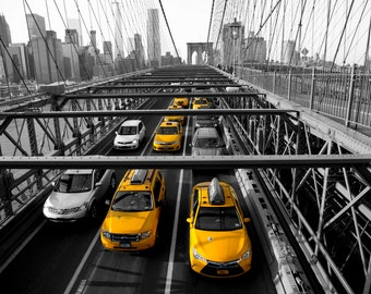 Brooklyn Bridge, New York City, NYC, Black and White, Christmas Gift, Yellow, Cabs, Taxis, Large Wall Art Print- Black & Yellow