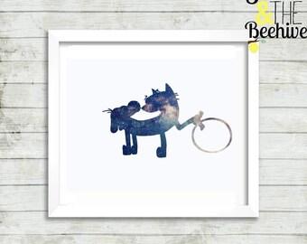 Hula hooping cat dog, nickelodeon, galaxy, print