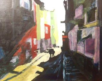 Sunlit city alley