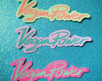 VEGAN POWER Sticker Pack - Set of 3 Pastel Logo Stickers