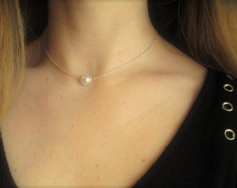 Silver/Gold pearl necklace- single pearl necklace, pearl choker, floating pearl necklace, bridesmaids pearl necklace