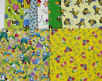 9 pieces Bee fabric prints cotton quilt remnants, bumble bee fabric, fabric stash, novelty prints, craft fabric, bumblebees, quilting bundle