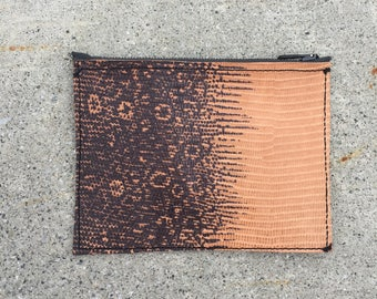 Embossed Leather Zip Pouch