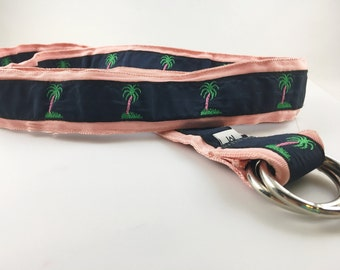 CK Bradley Palm Tree Ribbon Belt, Ribbon Belt, Palm Tree, CK Bradley, Pink Navy Belt, Womens Belt, Womens Medium Belt, Palm Tree Accessories