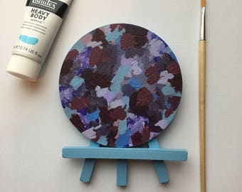 Original Art, Miniature Art, Mini Painting, Abstract Painting, Abstract Art, Purple & Blue Art, Original Painting, Round Art