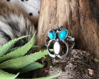 Vintage NAVAJO RING  / Old Pawn Ring / Southwestern Jewelry / Sterling Silver Double Turquoise Ring / Feather