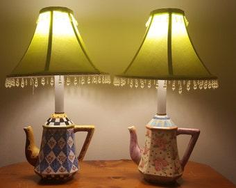 ON SALE, Mckenzie Childs Lamps, Teapot Lamps, Reproduction Lamps, Colorful Lamps, Porcelain Teapots, Teapot lights, Vintage Lamps, small