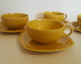 ON SALE, Yellow Teacups, Paden, Vintage Porcelain, Paden City Pottery, Padden City Cups, Mustard Yellow Cups, American Pottery, Teacup Set