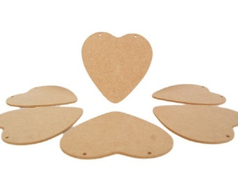 Pack of 6 13cm x 13cm Wooden heart plaques with holes - Suitable for Valentine's, Weddings, Home decor, Anniversaries, Mother's Day, Gifts