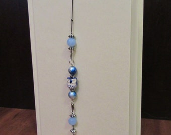 Beaded Bookmark, Bookmark, Stretchy Bookmark, Bookmark Bracelet, Dark Blue Owl Stretchy Beaded Bookmark