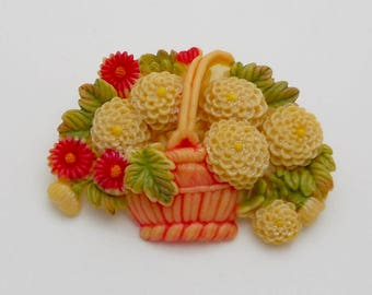 Vintage Japan Colorful Celluloid Flower Basket Brooch/Pin
