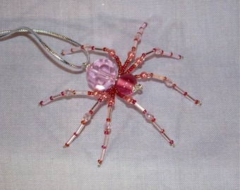 Christmas Spider Ornament - Pink and rose