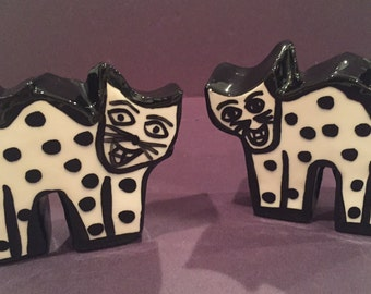 Whimsical Salt and Pepper Shaker ~ Funky Salt and Pepper Shaker ~ Ceramic Cat Salt and Pepper Shaker ~ Gift for Cat Lover ~ Cat Polka Dots