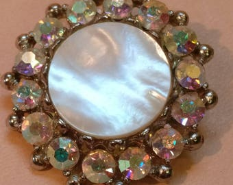 Vintage Brooch, mother of pearl, inset stones