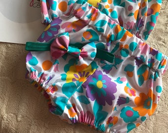 Floral bloomers and matching bow