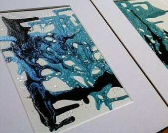 Abstract Painting Set of 2 Black and Blue Original Mixed Mixed Media 'Liquid Night and Pearls' Wall Art Set of Two 8 x 10
