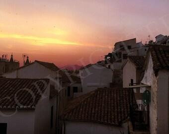 Sunset Over City Digital Print - Download