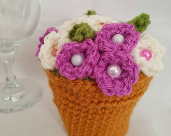 Crochet flower pot, mothers day gifts, flowers, flower pot, crochet gift, mothers day flowers, home decor, table decoration, crochet vase
