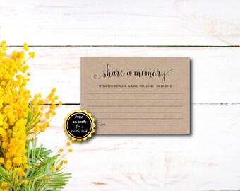 Share A Memory, Rustic, Kraft Letter, DIY Wedding, Memory Card, Template, DIY Editable Pdf, Printable Instant Download E77I